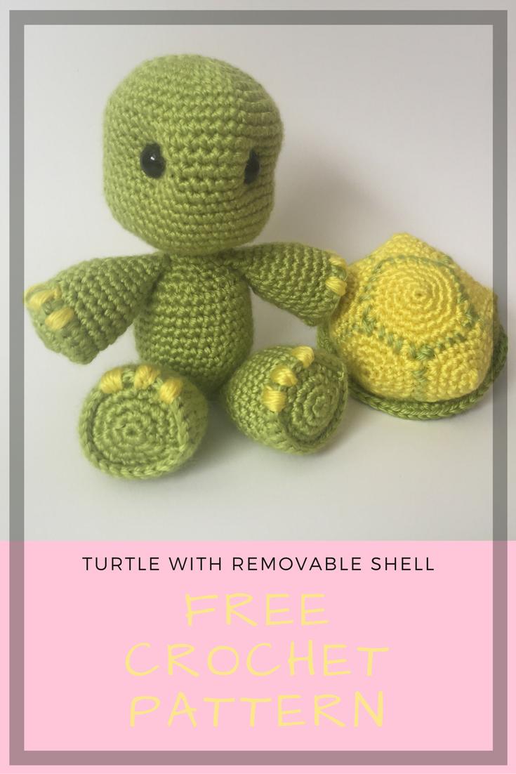 Tartaruga con guscio removibile free amigurumi