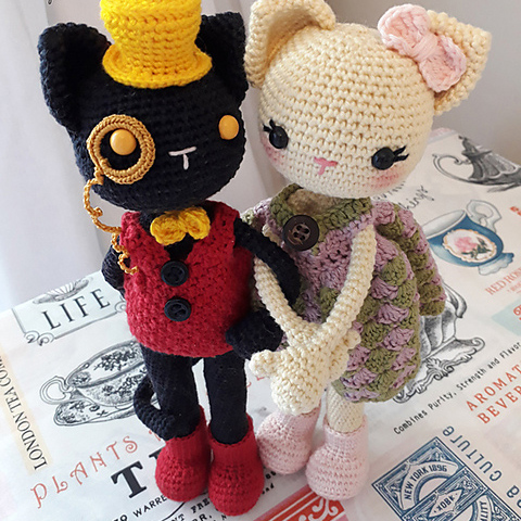 Stupenda coppia di gatti free amigurumi