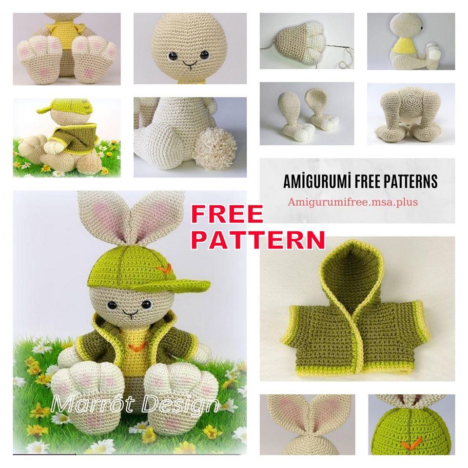 Coniglietto con abito e cappellino amigurumi free pattern